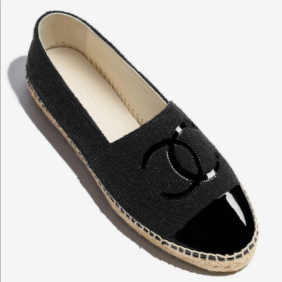 Chanel Tweed And Patent Toe Espadrille